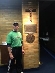 John in the legendary Notre Dame football lockerroom