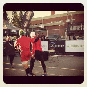 John and Rick Fountain finishing Leadville 100 Mile Run
